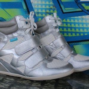 Sugar sz 9.5 silver/white high top sneakers